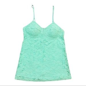 Candie's Mint Floral Overlay Padded Cup Camisole